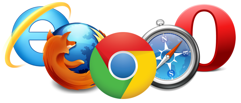 Internet Explorer, Firefox, Google Chrome, Safari, Opera